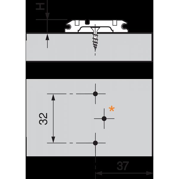CLIP опорная планка, крестообразная, 3 мм, сталь, под саморезы, РВ: продольное отверстие