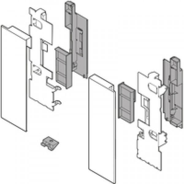 LEGRABOX держатель фасада, высота C, для высокого внутреннего ящика со вставкой, левый/правый, включая все загл., белый шёлк