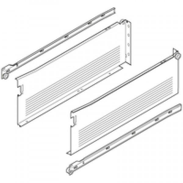 METABOX боковина из стали H (150 мм), част. выдвиж., 25 кг, НД=500 мм, под шурупы, левая/правая
